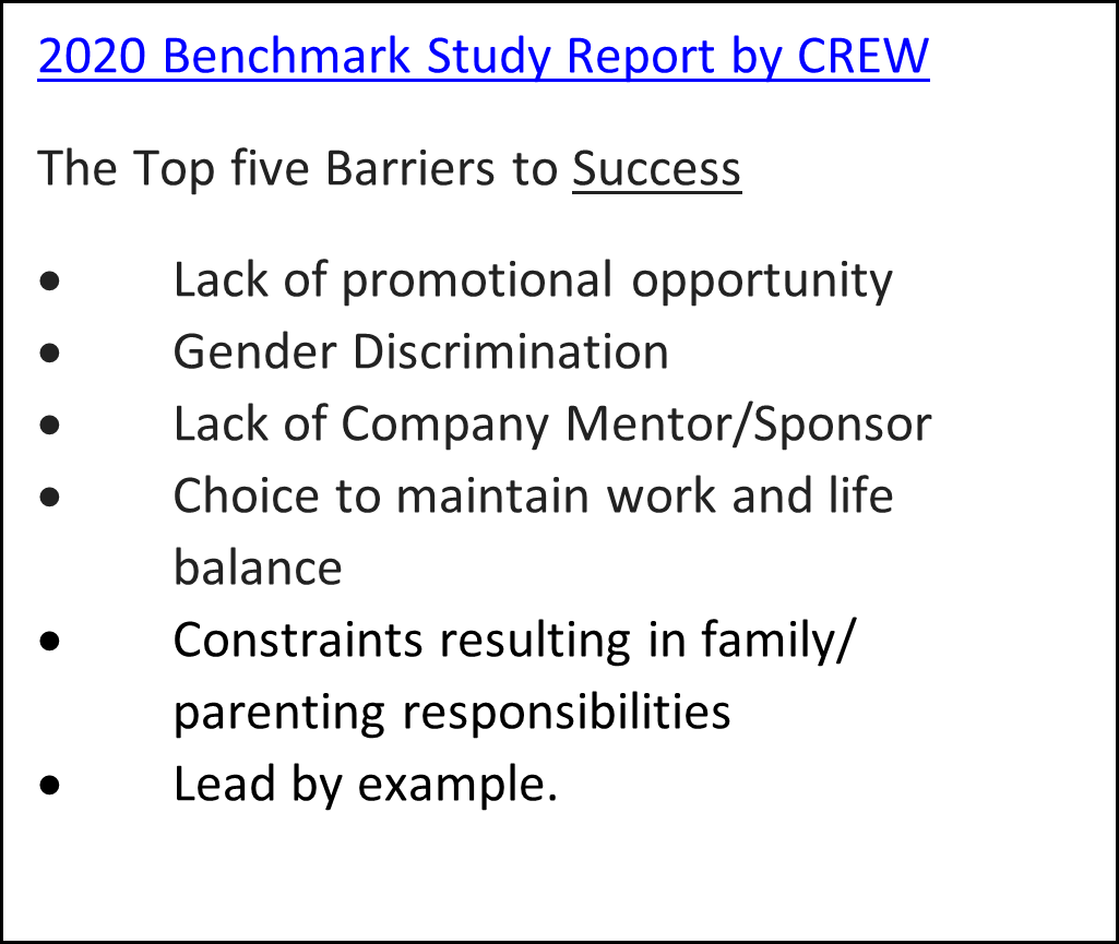 The Top Five Barriers to Success from The 2020 Benchmark Study by CREW
