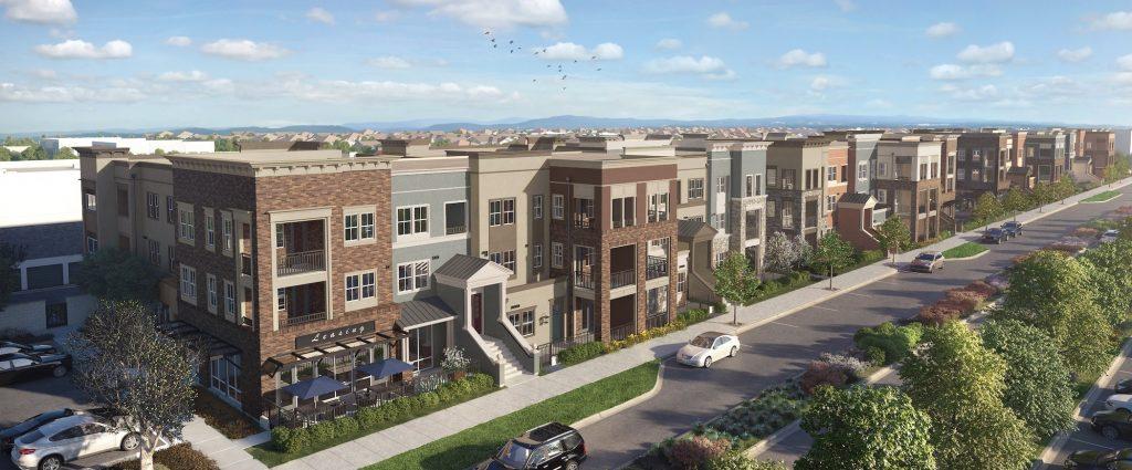 View of stylish new apartment community